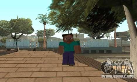Steve de la piel de Minecraft juego para GTA San Andreas séptima pantalla