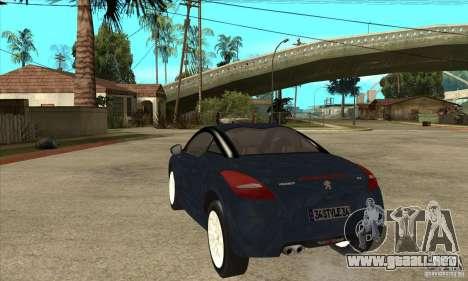Peugeot RCZ 2011 para GTA San Andreas vista posterior izquierda