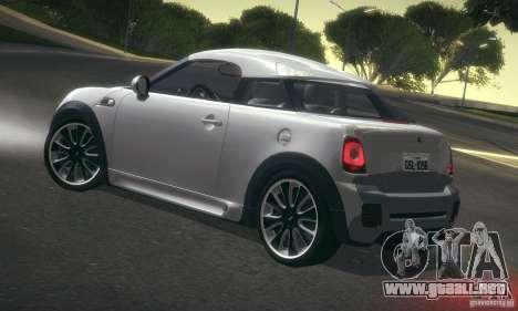 Mini Concept Coupe 2010 para GTA San Andreas vista posterior izquierda