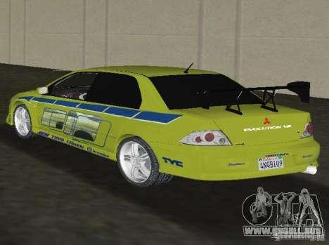 Mitsubishi Lancer Evolution VII para GTA Vice City left