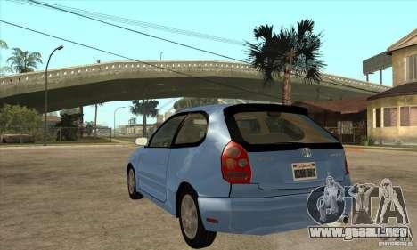 Toyota Corolla G6 Compact E110 US para GTA San Andreas vista posterior izquierda
