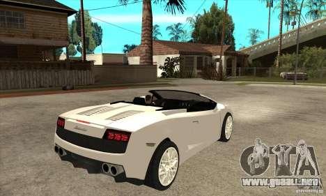 Lamborghini Gallardo Spyder v2 para la visión correcta GTA San Andreas