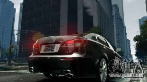 Lexus IS-F para GTA 4 Vista posterior izquierda