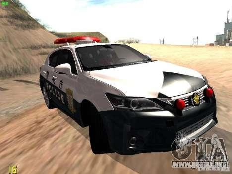Lexus CT200H Japanese Police para GTA San Andreas vista posterior izquierda