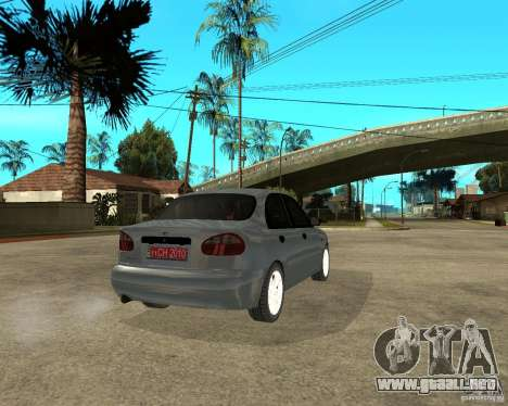 Daewoo Lanos para GTA San Andreas vista posterior izquierda