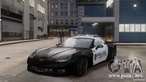 Chevrolet Corvette LCPD Pursuit Unit para GTA 4 vista hacia atrás