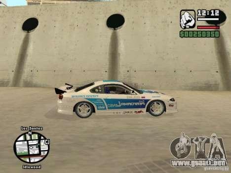 Nissan Silvia S15 Drift para GTA San Andreas vista posterior izquierda