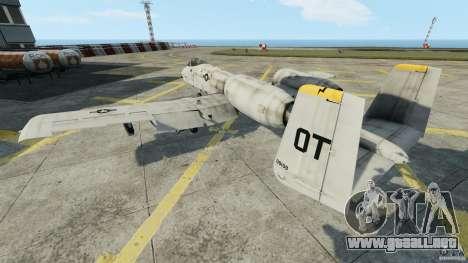 A-10A Thunderbolt II para GTA 4 Vista posterior izquierda