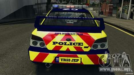 Subaru Impreza British ANPR [ELS] para GTA 4 interior