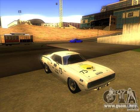 Plymouth Hemi Cuda para GTA San Andreas vista hacia atrás