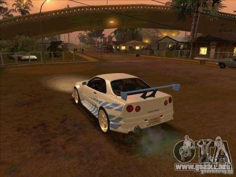 Nissan Skyline GT-R R34 2 Fast 2 Furious para GTA San Andreas left