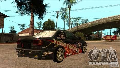 Toyota Corolla AE86 Grid para la visión correcta GTA San Andreas