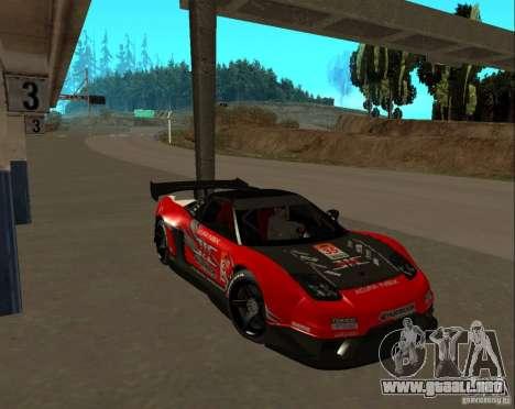 Acura NSX Sumiyaka para GTA San Andreas vista hacia atrás