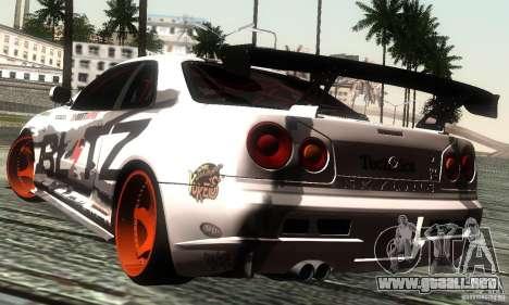 Nissan Skyline R34 Blitz para GTA San Andreas left