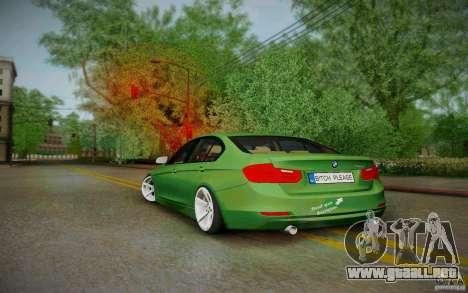 BMW 3 Series F30 Stanced 2012 para GTA San Andreas vista posterior izquierda