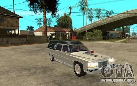 Cadillac Fleetwood 1985 Hearse Tuned para GTA San Andreas vista hacia atrás