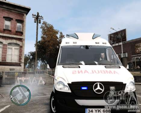 Mercedes Sprinter Turkish Ambulance para GTA 4 vista hacia atrás