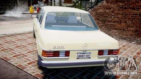 Mercedes-Benz 230E 1976 para GTA 4 Vista posterior izquierda
