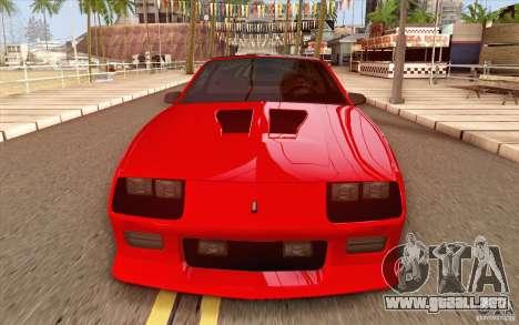 Chevrolet Camaro Z28 Targa Top 1986 para visión interna GTA San Andreas