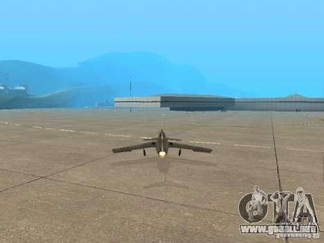 MiG 15 con armas para GTA San Andreas vista posterior izquierda
