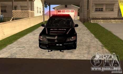 Mitsubishi Lancer Evo VIII MR Police para GTA San Andreas vista posterior izquierda