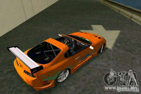 Toyota Supra Fast and the Furious para GTA Vice City vista lateral izquierdo