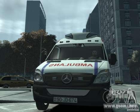 Mercedes-Benz Sprinter Azerbaijan Ambulance v0.1 para GTA 4 vista hacia atrás