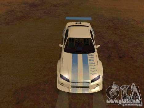 Nissan Skyline GT-R R34 2 Fast 2 Furious para GTA San Andreas vista hacia atrás