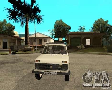 Vaz 2131 Niva para GTA San Andreas vista hacia atrás