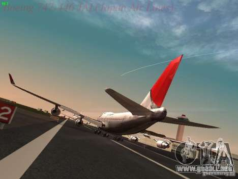 Boeing 747-446 Japan-Airlines para GTA San Andreas vista posterior izquierda