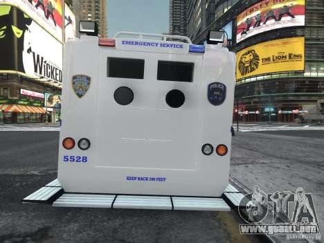 Lenco Bearcat NYPD ESU V.2 para GTA 4 Vista posterior izquierda