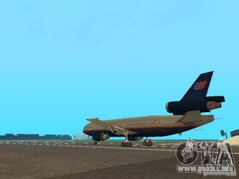 McDonell Douglas DC10 United Airlines para GTA San Andreas vista posterior izquierda