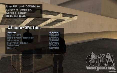 Cars shop in San-Fierro beta para GTA San Andreas tercera pantalla