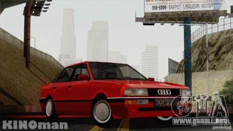 Audi 90 Quattro para GTA San Andreas vista posterior izquierda