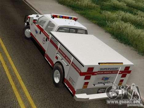 Ford F-350 AMR Supervisor para GTA San Andreas vista hacia atrás