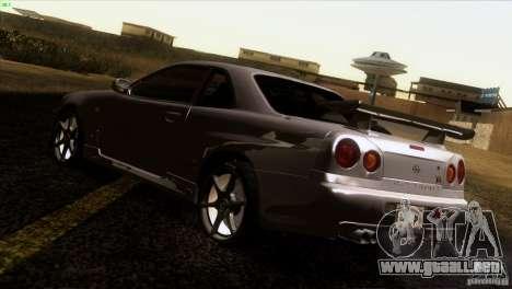 Nissan Skyline R34 Drift para GTA San Andreas vista posterior izquierda