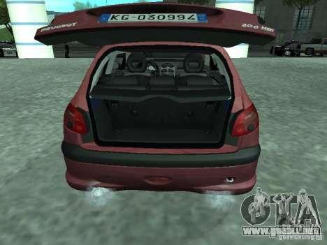 Peugeot 206 HDi 2003 para GTA San Andreas vista hacia atrás
