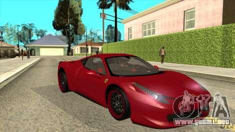 Ferrari 458 Italia Hamann para GTA San Andreas vista hacia atrás