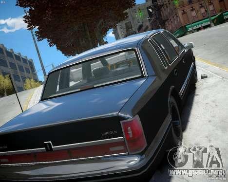 Lincoln Towncar 1991 para GTA 4 vista hacia atrás
