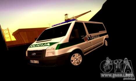 Ford Transit Policija para la vista superior GTA San Andreas