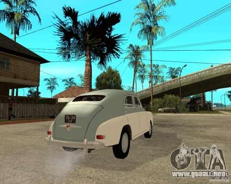 GAZ M20 Pobeda para GTA San Andreas vista posterior izquierda