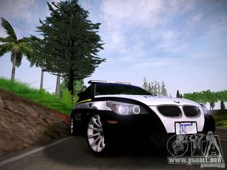 BMW M5 E60 Police para GTA San Andreas vista posterior izquierda