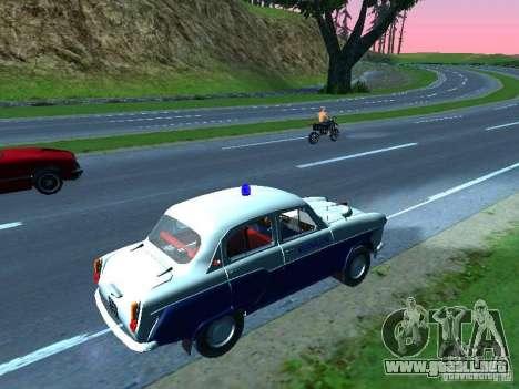 Moskvitch 403 con policía para GTA San Andreas vista posterior izquierda