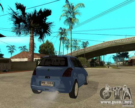 2007 Suzuki Swift para GTA San Andreas vista posterior izquierda