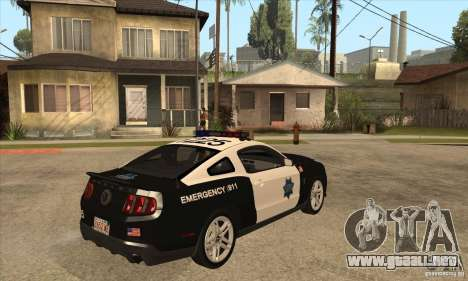 Shelby GT500 2010 Police para la visión correcta GTA San Andreas