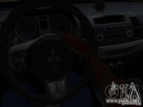 Mitsubishi Lancer Evo X para GTA San Andreas vista hacia atrás