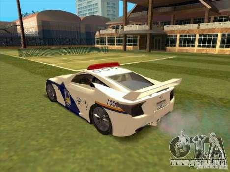 Lexus LF-A China Police para GTA San Andreas left