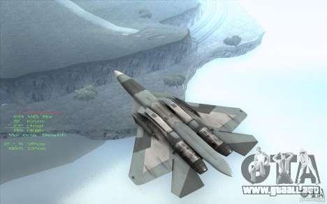 SU t-50 Pak FA para GTA San Andreas vista posterior izquierda