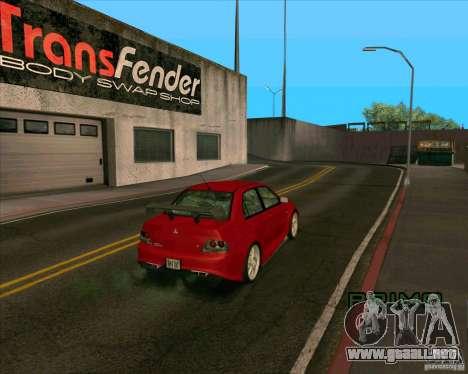 Mitsubishi Lancer Evolution 8 MostWanted para GTA San Andreas vista posterior izquierda