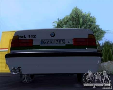 BMW E34 Policija para GTA San Andreas vista hacia atrás